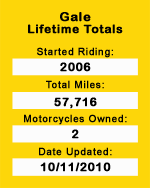 Motorcycle Journeys Gale lifetime stats
